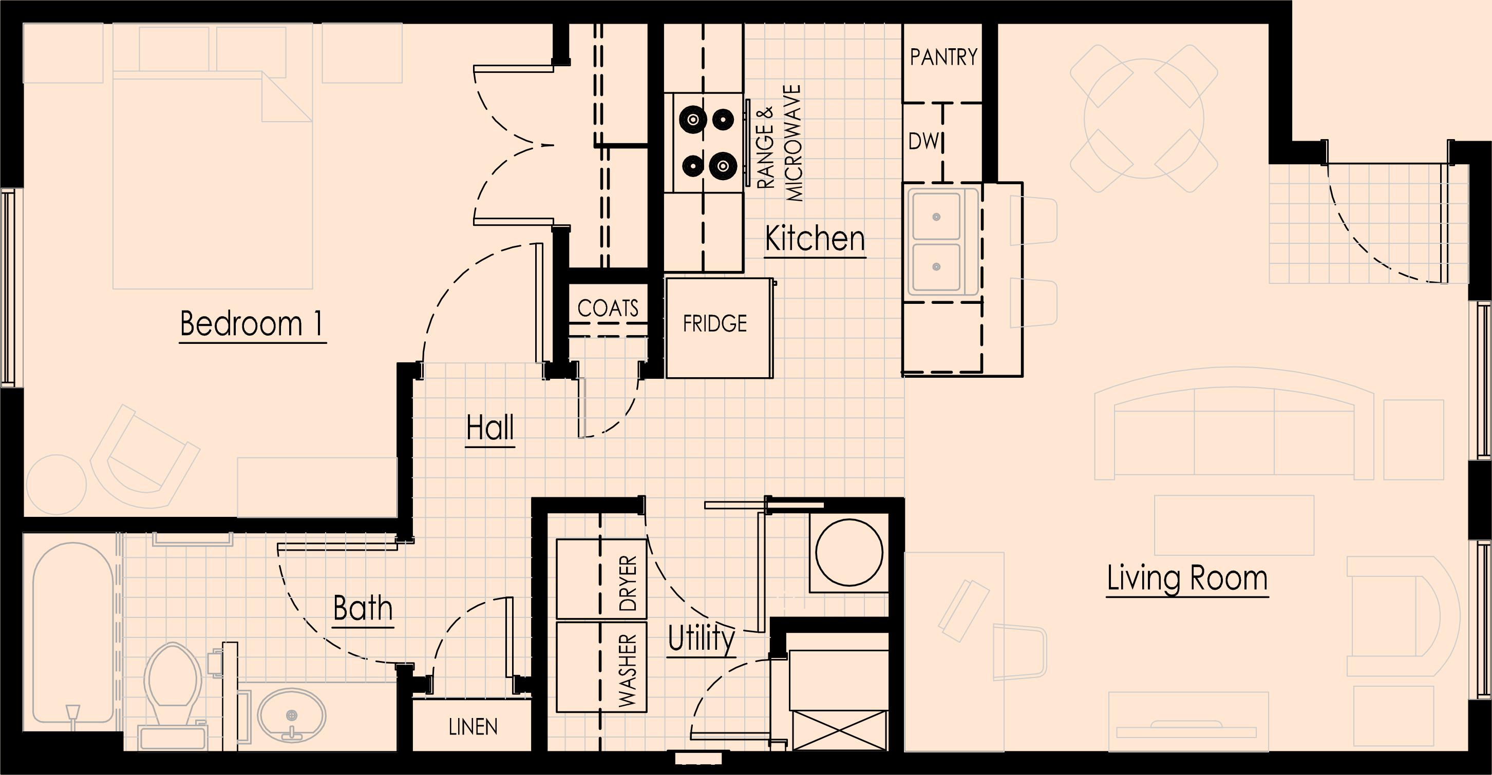Floor management plan gurus floor for Floor plans for one bedroom apartments